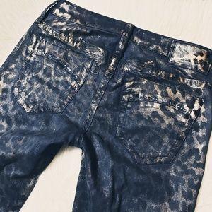 Robin's Jeans Gold Leopard Flake Coated Skinny 26